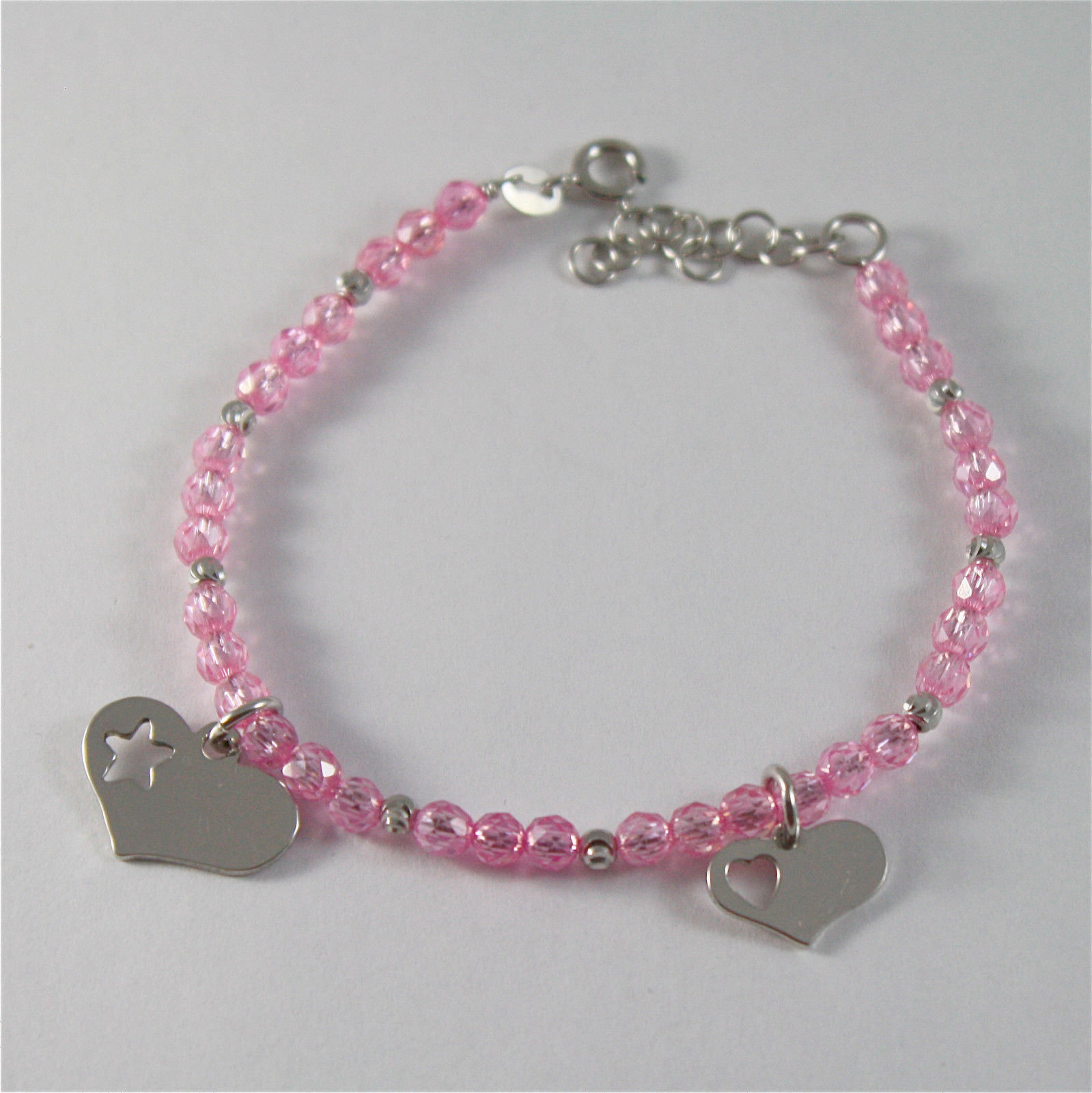 925 SILVER BRACELET WITH HEARTS AND PINK CUBIC ZIRCONIA MADE IN ITALY 59,00 USD