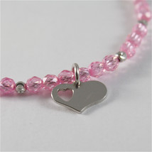 925 SILVER BRACELET WITH HEARTS AND PINK CUBIC ZIRCONIA MADE IN ITALY 59,00 USD image 2