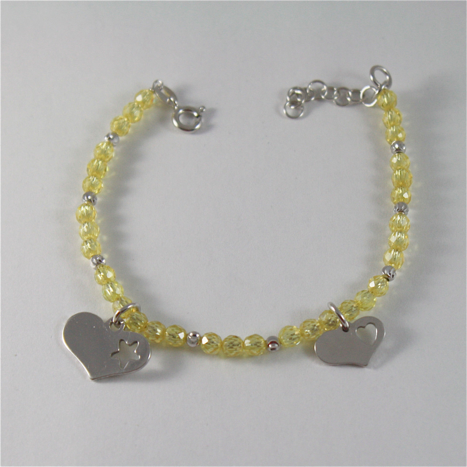 925 SILVER BRACELET WITH HEARTS & YELLOW CUBIC ZIRCONIA MADE IN ITALY 59,00 USD