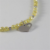 925 SILVER BRACELET WITH HEARTS & YELLOW CUBIC ZIRCONIA MADE IN ITALY 59,00 USD image 2