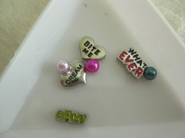 M108 Charms for Memory locket Floating Charms set of 4 charms and pearls/WORDS - $1.75