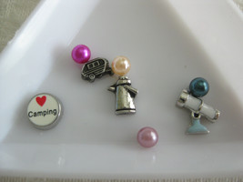 S4 CAMPING Charms for Memory locket Floating Charms set of 8 charms and pearls - $1.50