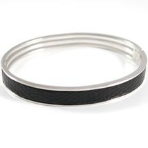 Bracciale In Argento 925 Rodiato, Rigido, Ovale, Inserto In Pelle Nera - $163.12