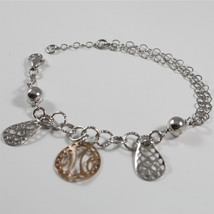 925 Silver Bracelet with Charms worked: drops and Round Rosato - $50.65