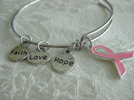 Expandable adjustable bangle bracelet with PINK RIBBON and Faith, Hope and Love  - $14.00
