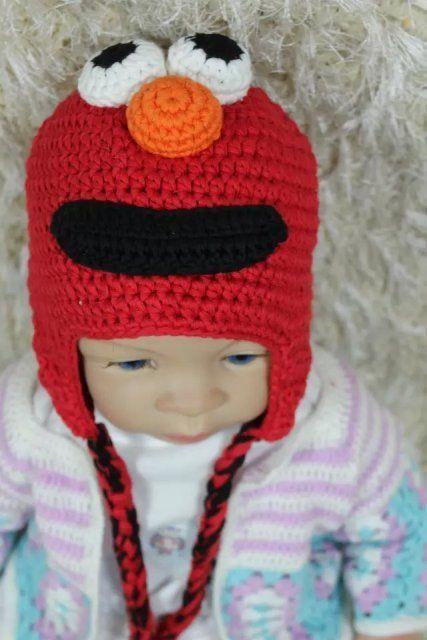 New Knit Crochet Sesame Street Elmo Hat Baby Child Hats Newborn Photo Prop Ha...