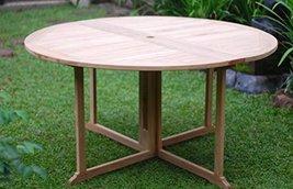 "Premium Grade A Teak 47"" Round Barcelona DropLeaf Folding Table,Use w/1 Leaf ... - $925.00"