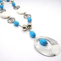 925 Silver Necklace, White Agate Crimped, Turquoise, Oval Pendant, 70 cm image 3