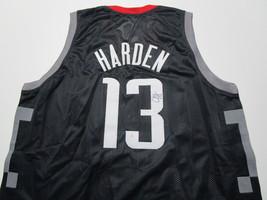 JAMES HARDEN / AUTOGRAPHED HOUSTON ROCKETS BLACK CUSTOM BASKETBALL JERSEY / COA image 1