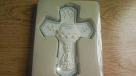 First Communion Cross Body of Christ stay always in my heart Boy Blue White - $16.77