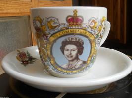 Queen Elizabeth II Commemorate Cup Saucer 1952 1977 Silver Jubilee Photo... - £18.12 GBP