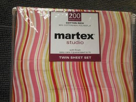 martex Pink Wavy Stripe Twin Bed Sheet Set 200 Thread Count Soft Finish NEW - $18.59