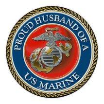 Crazy Sticker Guy Round Magnet - Proud Husband of a Marine - USMC United States  - $6.99