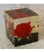 VINTAGE RED ROSE LUCITE PAPERWEIGHT - $12.00
