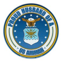 Crazy Sticker Guy Round Magnet - Proud Husband of a US Airman - USAF United Stat - $6.99