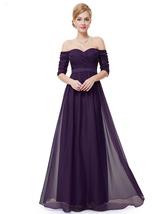 Purple Off The Shoulder Half Sleeves A Line Chiffon Formal Dress - $110.00