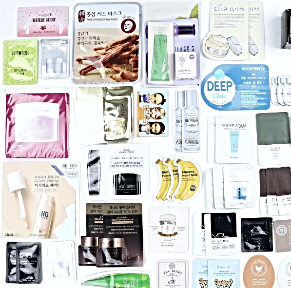 Primary image for Korean Beauty Samples 60-Piece Foil Packet Sample Bag Innisfree Tonymoly Holika