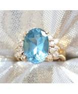Baroque Aqua & Crystal Cut Glass Sterling Ring ... - $29.95