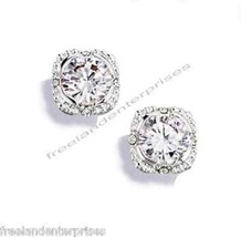 Earring Halo CZ Stud Round Earrings Silvertone Pierced ~NEW~ (Circa 2014) - $19.75