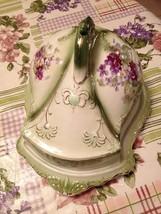 Stoke On Trent England Victorian Green & Purple Flower Cheese Dish Tray Platter - $129.99