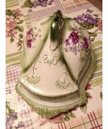 Stoke On Trent England Victorian Green & Purple Flower Cheese Dish Tray ... - $129.99