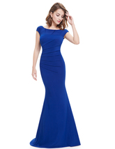 Elegant Royal Blue Cap Sleeves Mermaid Prom Dress With Open Back - $120.00