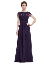 Purple Off The Shoulder Chiffon Prom Dress With Beaded Lace Applique - $125.00