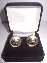 Vintage Round Emblem Cufflinks - Yellow & White Goldtone - With Box - $13.98