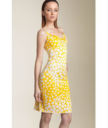 DIANE von FURSTENBERG ANNETTE SQUARE DOT YELLOW DRESS - US 12 - UK 16 - $144.97