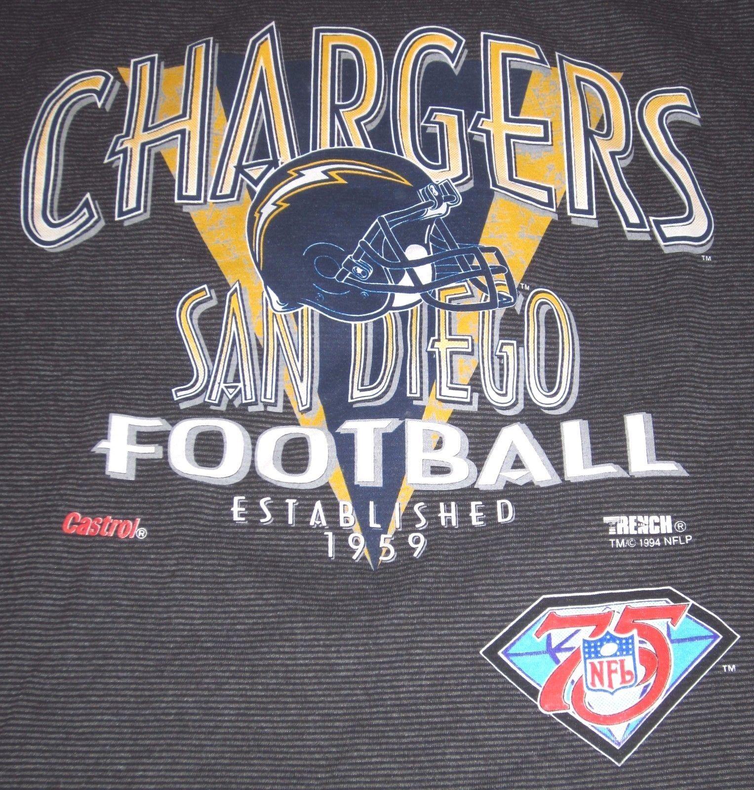 c0e60de63 ... Vintage San Diego Chargers T-shirt - NFL 75 - 1994 - Size XL ...