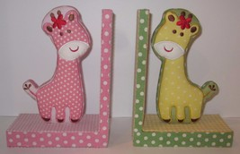 Adorable Handmade Pink & Yellow Giraffe Bookends -  ETSY - Nursery - Baby Girl! - $51.38