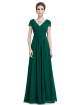 Emerald Green V Neck Chiffon Prom Dresses With Beaded Lace Applique - $125.00