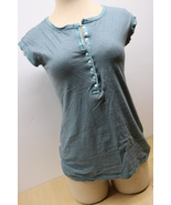Mossimo Supply Co. Large L Woman's Short Sleeve Button Top Tight Fit - $12.00