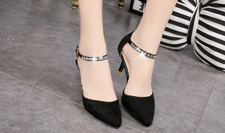 Primary image for pp103 Dedicate pointed ankle pumps wi rhinestones strap, size 35-39, black