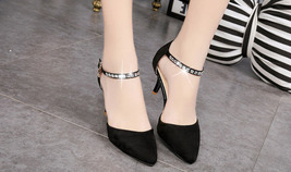 pp103 Dedicate pointed ankle pumps wi rhinestones strap, size 35-39, black - $39.90