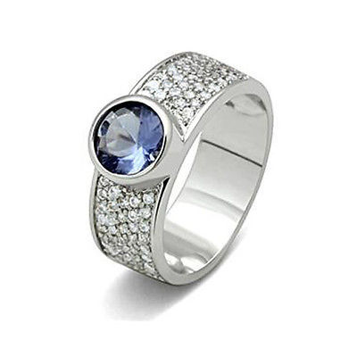 MJS Silver Tone Micro Pave Blue and Clear Cubic Zirconia Band Ring Size 5, 8