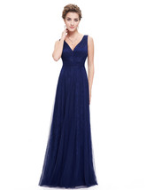 Navy Blue Contrast V Neck Lace Prom Dress With Tulle Overlay - $120.00
