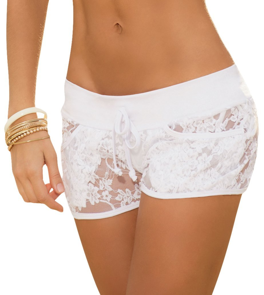 Mapal by AM:PM Women's Sexy Lace Shorts, White, Small - $17.72