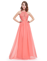 Coral Sleeveless Beaded Chiffon Prom Dress With Jewelled Neckline - $115.00