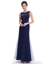 Navy Blue Sheath Floor Length Tulle Prom Dress With Beaded Lace Applique - $120.00