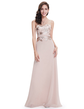 Pastel Pink Illusion Neckline Chiffon Prom Dress Embroidered Bodice - $110.00