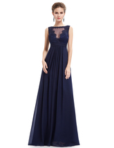Navy Blue Illusion Neckline Chiffon Prom Dress With Lace Bodice - $110.00