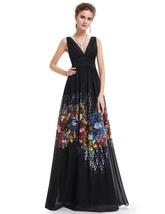 Elegant Black V Neck Embellished Floral Print Sleeveless Maxi Dress - $110.00