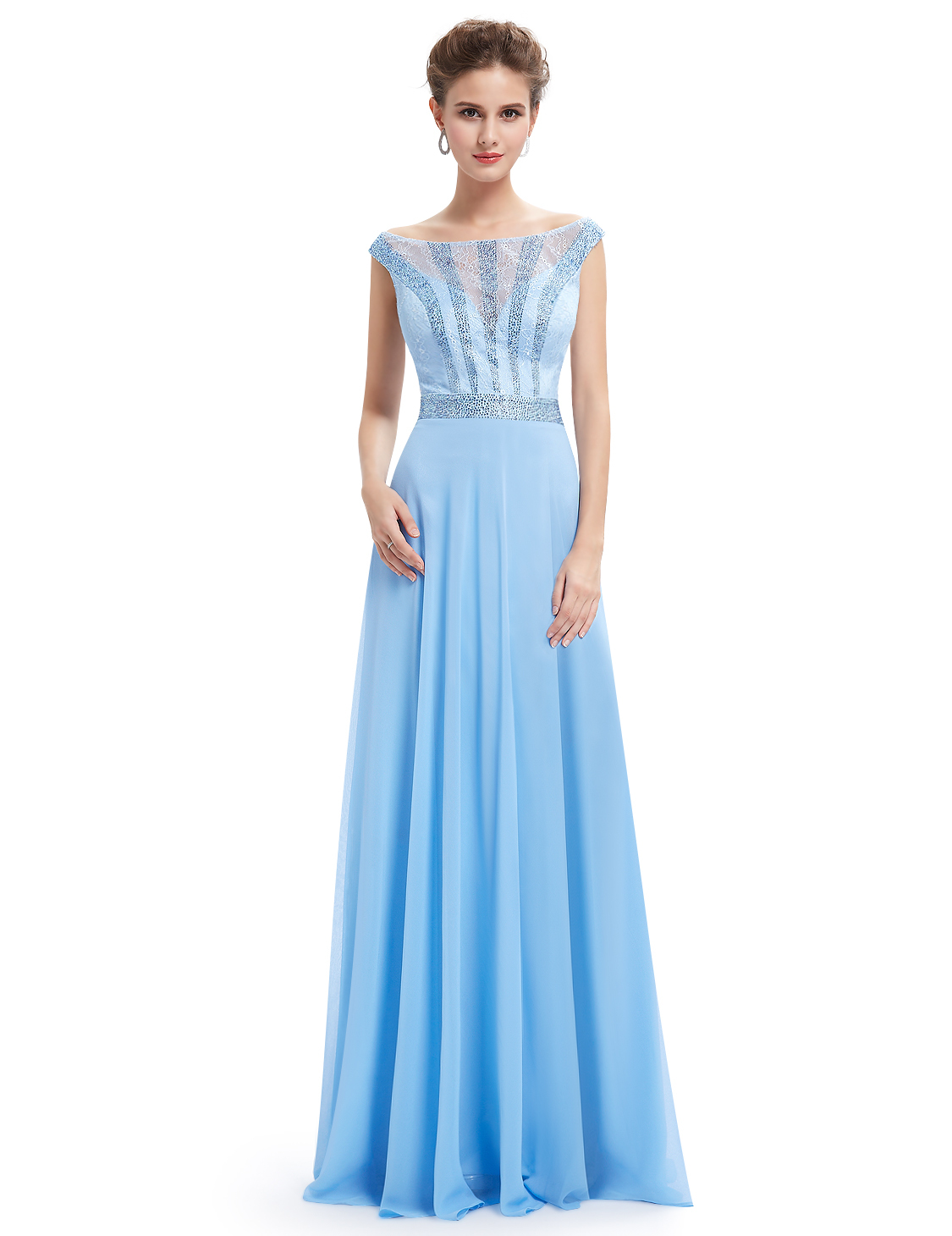 Light Blue Lace Illusion Neckline Chiffon Prom Dress With Beaded Bodice - $115.00
