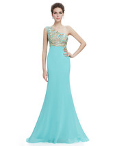 Mint Green One Shoulder Mermaid Chiffon Prom Dress With Gold Accents - $115.00