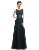 Vintage Emerald Green Tulle Prom Dress With Embellished Bodice - $115.00
