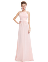 Pearl Pink Floor Length Chiffon Prom Dresses With Beaded Bodice - $110.00