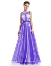 Purple Tulle Illusion Neckline Open Back Prom Dress With Jewel Detailing - $110.00