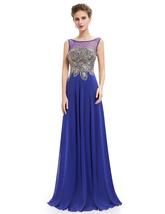 Elegant Royal Blue Sheer Illusion Neckline Chiffon Prom Dress - $115.00
