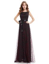 Vampal Black And Red Polka Dot Sheer Illusion Neckline Maxi Dress With Sash - $110.00
